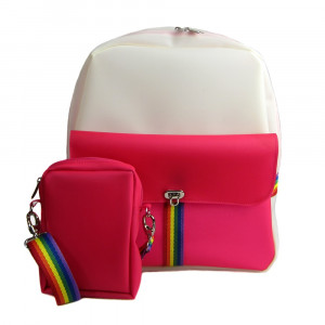 Kit Mochila e Shoulder bag de silicone rosa Maria Adna